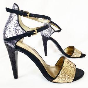 Glitter Color Block Strappy Heels